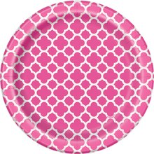 "7"" Hot Pink Quatrefoil Party Plates, 30ct, medium"