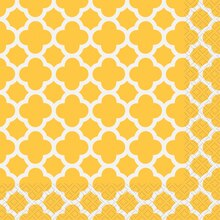 Yellow Quatrefoil Luncheon Napkins, 30ct