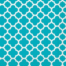 Teal Quatrefoil Beverage Napkins, 30ct