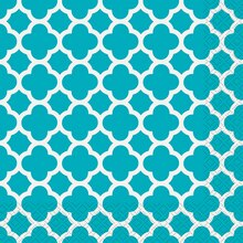 Teal Quatrefoil Luncheon Napkins, 30ct
