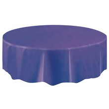 Round Plastic Dark Purple Tablecloth, 84""