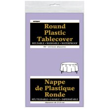 Round Plastic Lavender Tablecloth, 84""