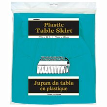 Plastic Teal Table Skirt Packaged