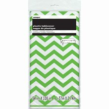"Plastic Lime Green Chevron Tablecloth, 108"" x 54"" Packaged"