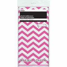 "Plastic Hot Pink Chevron Tablecloth, 108"" x 54"" Packaged"