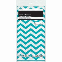 "Plastic Teal Chevron Tablecloth, 108"" x 54"" Packaged"