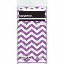 "Plastic Purple Chevron Tablecloth, 108"" x 54"" Packaged"