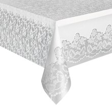 "Plastic White Lace Tablecloth, 108"" x 54"""