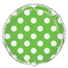 Foil Lime Green Polka Dot Balloon, 18""
