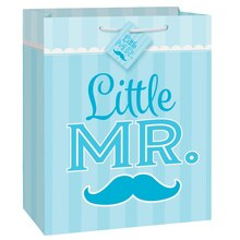 Blue Mustache Little Boy Gift Bag