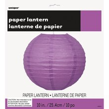 "Round Purple Paper Lantern, 10"" Packaged"