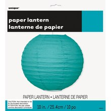 "Round Teal Paper Lantern, 10"" Packaged"