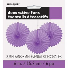 "6"" Purple Tissue Paper Fan Decorations, 3ct"