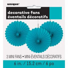 "6"" Teal Tissue Paper Fan Decorations, 3ct"
