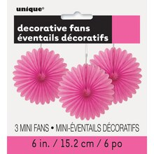 "6"" Hot Pink Tissue Paper Fan Decorations, 3ct Packaged"