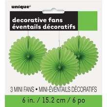 "6"" Lime Green Tissue Paper Fan Decorations, 3ct Packaged"