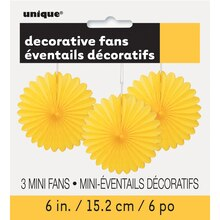 "6"" Yellow Tissue Paper Fan Decorations, 3ct Packaged"