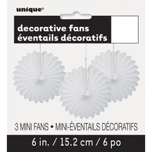 "6"" White Tissue Paper Fan Decorations, 3ct Packaged"