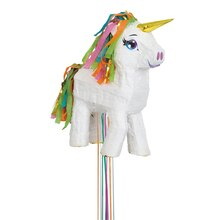 White Unicorn Piñata, Pull String