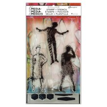 Dina Wakley Media Stamp & Stencil Set, Silhouetted Women Pack