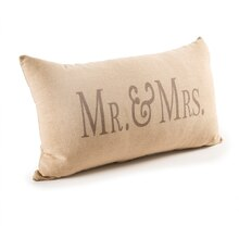 Darice Decorative Beige Mr. and Mrs. Throw Pillow