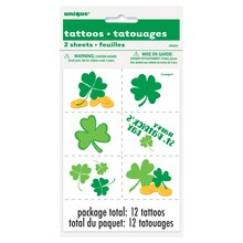 St. Patrick's Day Shamrock Tattoos, 12ct
