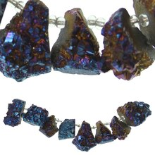 Blue Iridescent Druzy Agate Chunks By Bead Landing Close Up