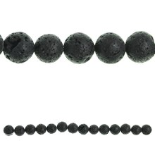 Bead Gallery Natural Lava Round Beads, Black
