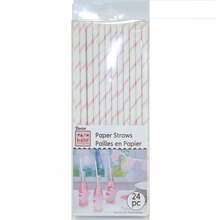 Darice Baby Shower Pastel Pink Stripes Paper Straws