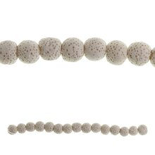Bead Gallery Round Natural Lava Beads, White Close Up