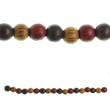Bead Gallery Round Wooden Beads, Multicolor Close Up