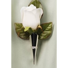 Victoria Lynn Lapel Pin Vase with Braid Trim, Silver