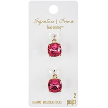 Signature Color Shop Fuchsia & Gold Glass Charms By Bead Landing