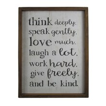 Farmington Think Deeply Wall Art Plaque By Studio Décor