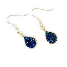 Bead Landing™ Blue Teardrop Druzy Earrings, medium