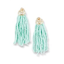 Mint Beaded Tassel Earrings, medium