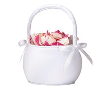 Lillian Rose Round Satin Flower Girl Basket, White