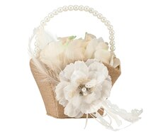 Lillian Rose Rustic Burlap & Lace Flower Girl Basket
