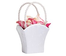 Lillian Rose Elegant Flower Girl Basket, White