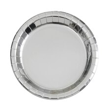 "7"" Foil Silver Paper Party Plates, 8ct, medium"