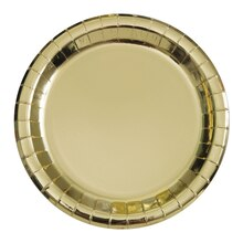 "7"" Foil Gold Paper Party Plates, 8ct"