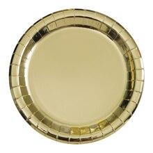 """7"""" Foil Gold Paper Party Plates, 8ct"""