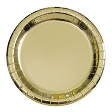 "9"" Foil Gold Paper Party Plates, 8ct"