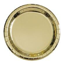 """9"""" Foil Gold Paper Party Plates, 8ct"""