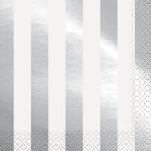 Foil Silver Striped Luncheon Napkins, 16ct