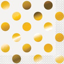 Foil Gold Polka Dot Beverage Napkins, 16ct
