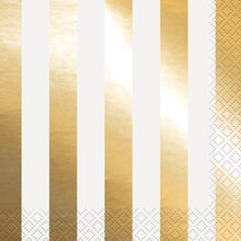 Foil Gold Striped Luncheon Napkins, 16ct