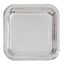 "9"" Foil Silver Square Paper Party Plates, 8ct"
