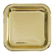 "7"" Foil Gold Square Paper Party Plates, 8ct"