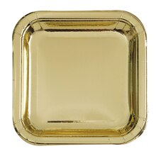 "9"" Foil Gold Square Paper Party Plates, 8ct"